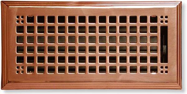 Craftsman Style Heat Register In Polished Copper